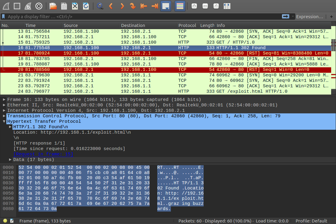 Injected packet in wireshark